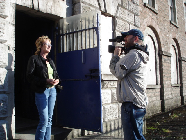 Marian Friel on-site at Armagh Gaol in 2006, being recorded by Mick Doyle.