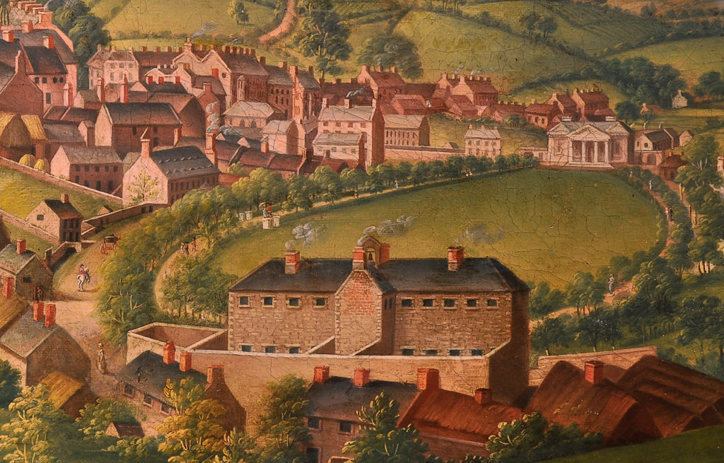 James Black's painting 'Armagh City, 1810' shows the rear of Armagh Gaol in its original state.