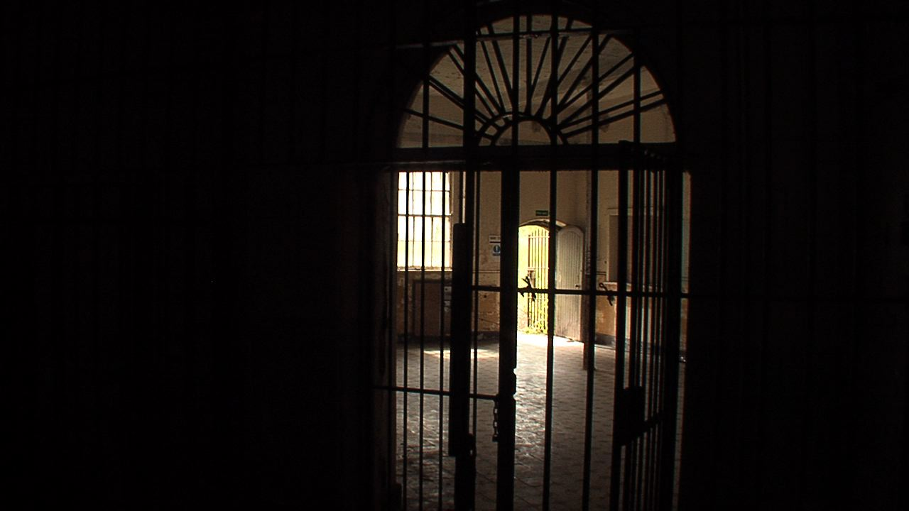 View through the gated doors.
