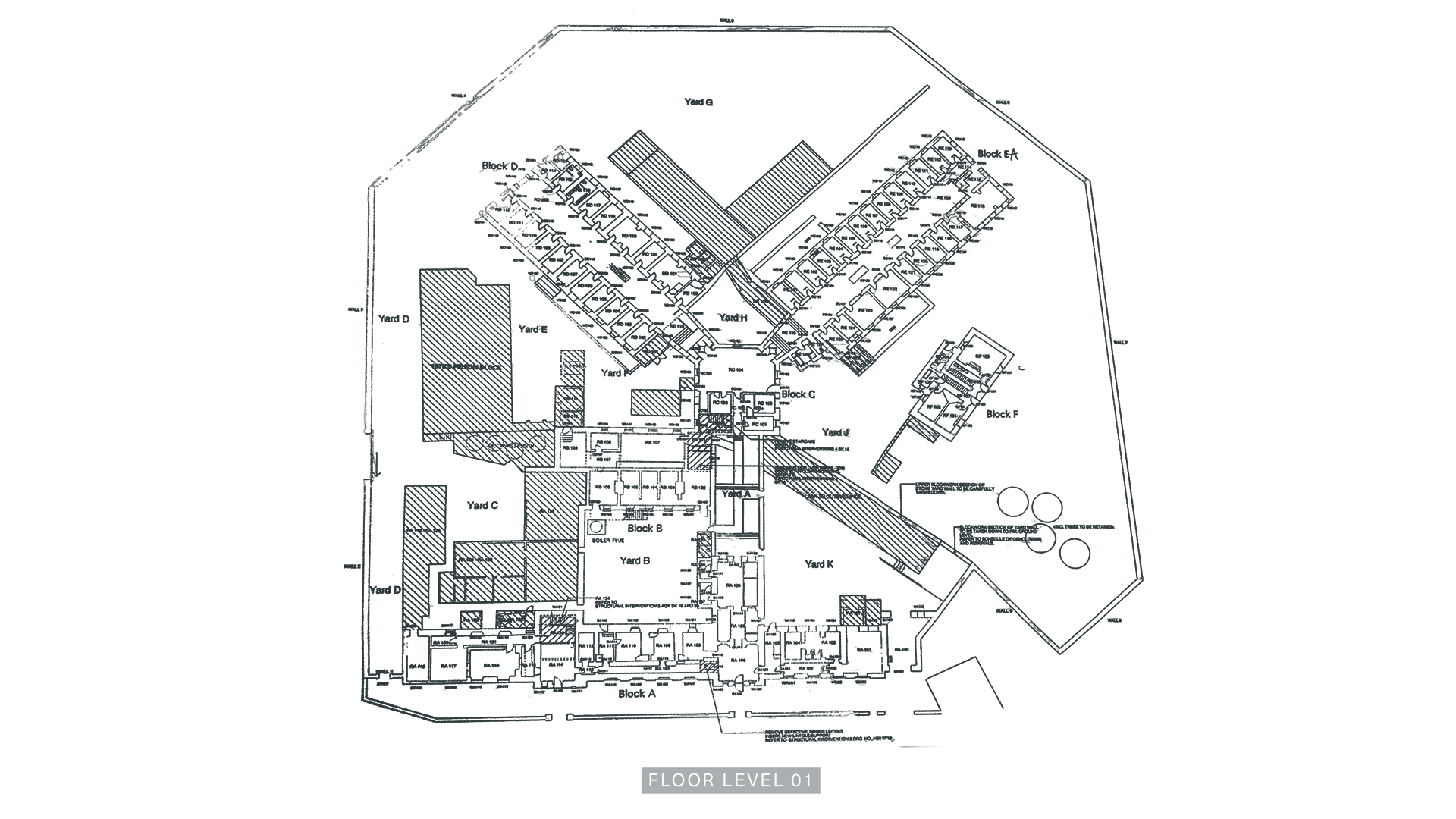 A Floor Plan of Level One of the Armagh Gaol.