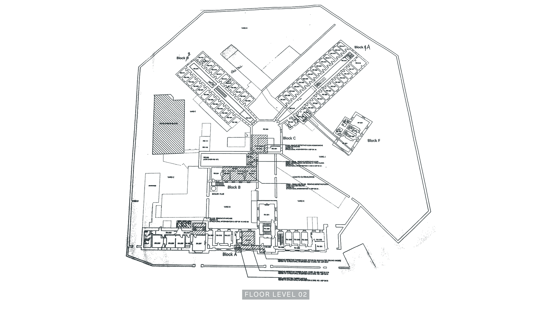 A Floor Plan of Level Two of the Armagh Gaol.