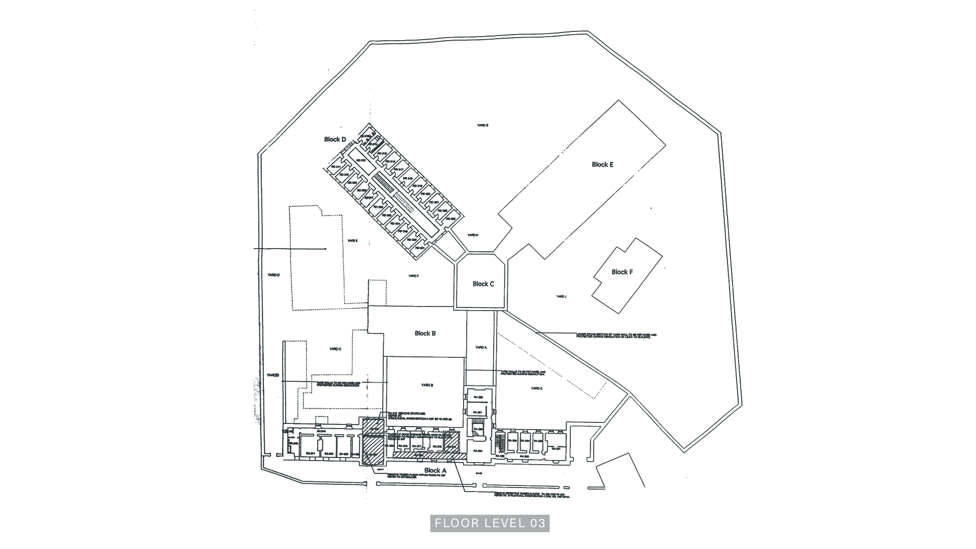 A Floor Plan of Level Three of the Armagh Gaol.