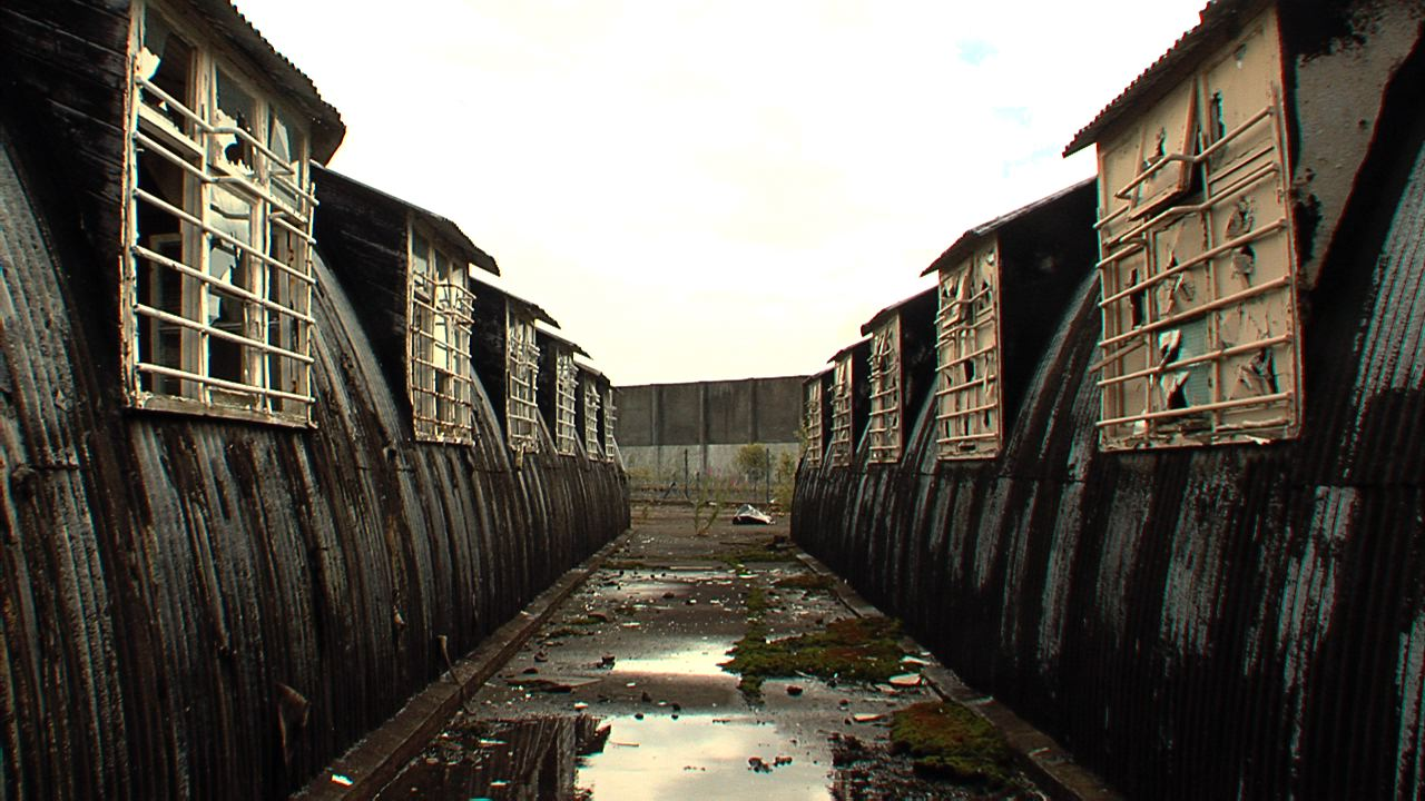 The back of the compounds in Long Kesh that were used during internment.